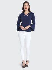 Navy Cotton Blend Cold V Neck Top-2214