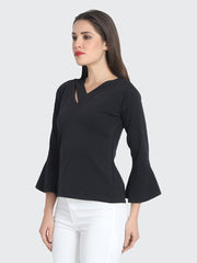 Black Cotton Blend Cold V Neck Top-2215