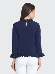 Navy Cotton Blend Ruffled Top-2221