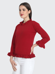 Maroon Cotton Blend Ruffled Top-2222