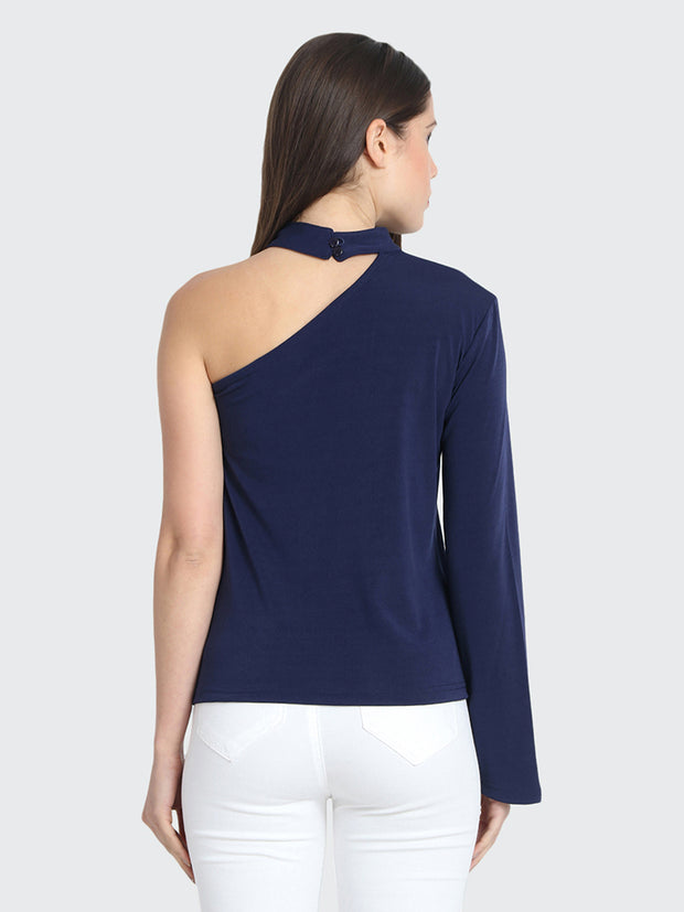 Navy Cotton Blend One shoulder Top-2219