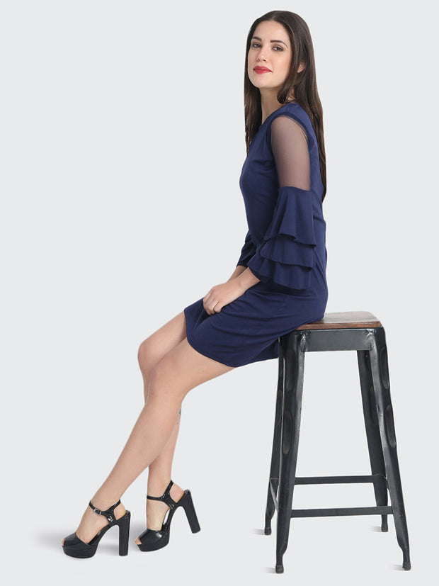 Navy Cotton Blend Frill Bodycon Dress-2228
