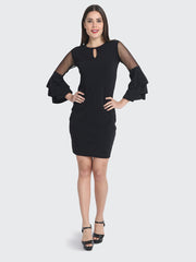 Black Cotton Blend Frill Bodycon Dress-2230