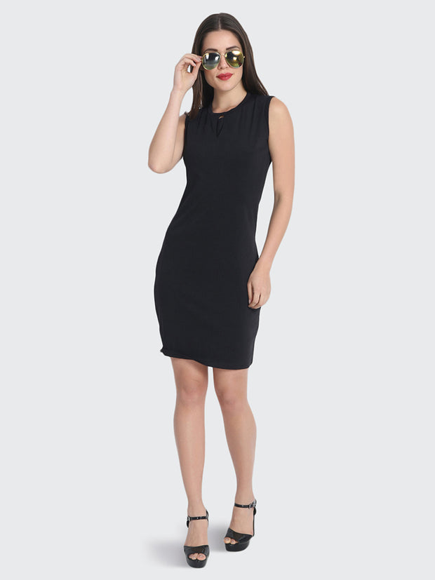 Black cotton knee length  dress