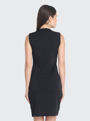 Black Cotton Blend Knee-Length Bodycon Dress-2226
