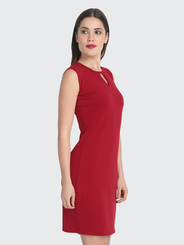 Maroon Cotton Blend Knee-Length Bodycon Dress-2227