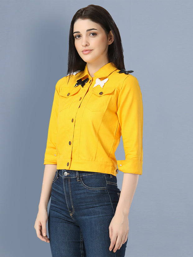 Yellow Butterfly Twil Denim Jacket For Women-2505