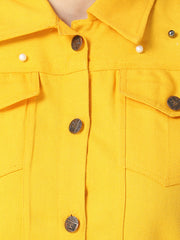 Yellow Pearl Embellished Twil Denim Jacket For Women-2500