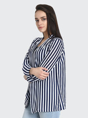 Navy N White Hosiery Lycra Long Line Striped Shrug-2184