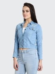 Light Blue Striped Buttoned Denim Jacket-2176