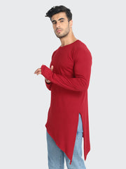 Maroon Cotton Solid Plain Men Kurta T-Shirt-2262