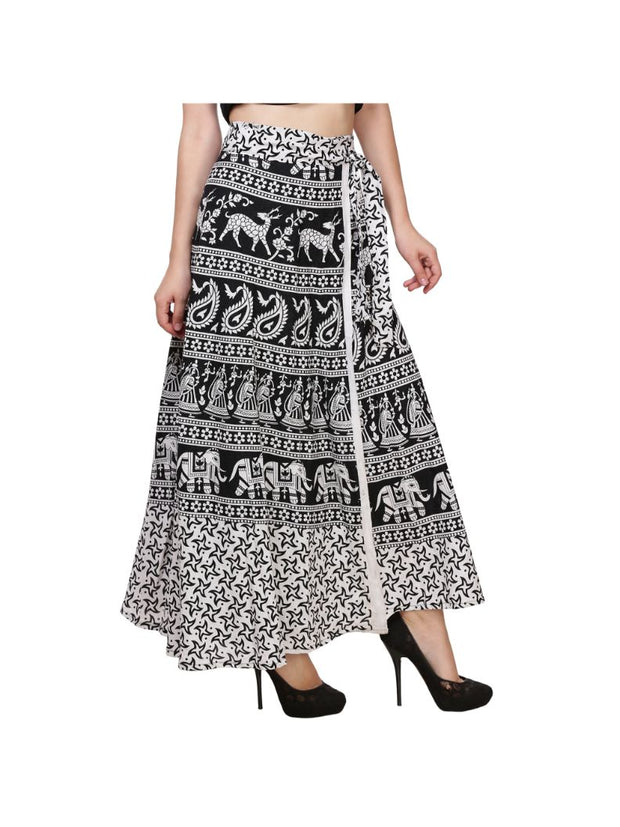 Black N White Cotton Animal Print Wrap Skirt-1657