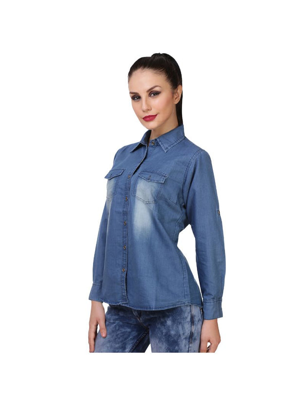 Denim Blue Full Sleeve Plain Shirt-1237
