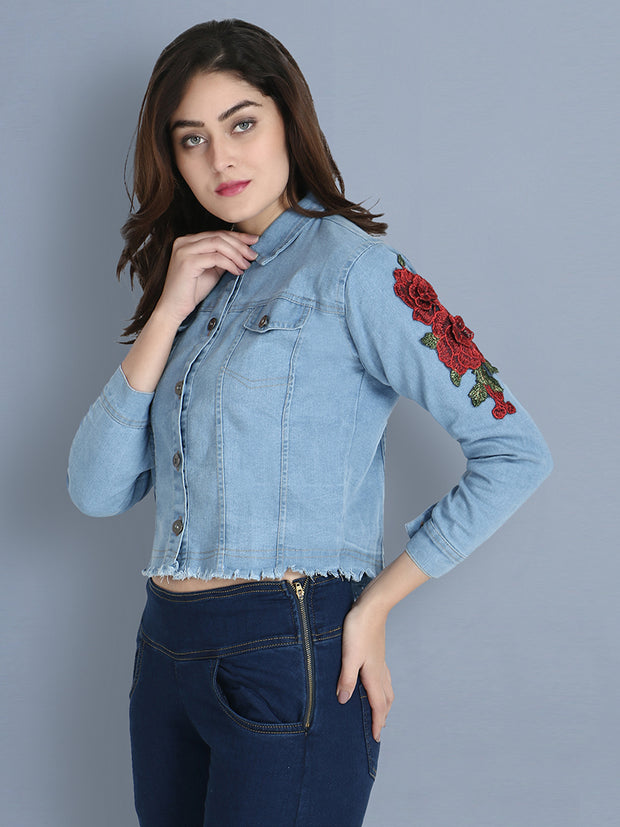 Light Blue Floral Print Denim Jacket-2154B