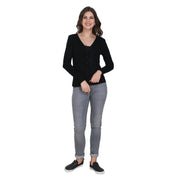 Black Plain Full Sleeve Woolen Buttoned Cardigan-1721