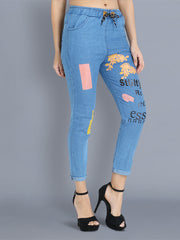Light Blue Color Block Skinny Fit Denim Jogger Jeans-2357
