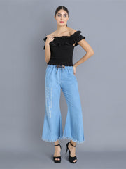 Light Blue Printed Raw Edge Denim Palazzo Jeans-2355
