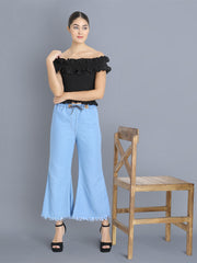 Light Blue Raw Edge Denim Palazzo Jeans-2353