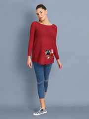 Maroon Owl Print Women's Wool Sweater-2365
