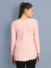 Peach Owl Print Women's Wool Sweater-2368