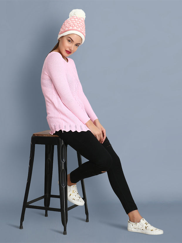 Baby Pink Owl Print Women's Wool Sweater-2370