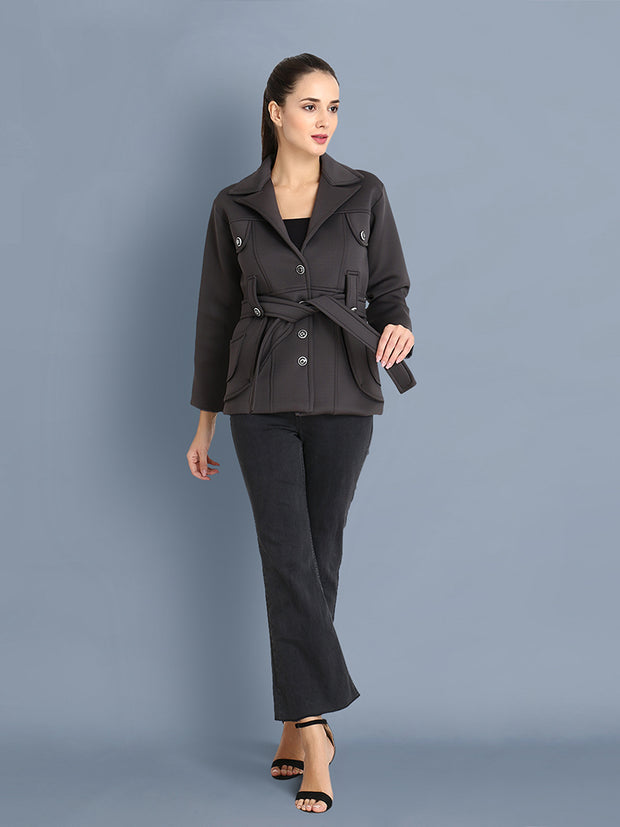 Grey Belted Woolen Blend Womens Blazer Coat-2402