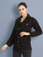 Black Belted Woolen Blend Womens Blazer Coat-2404