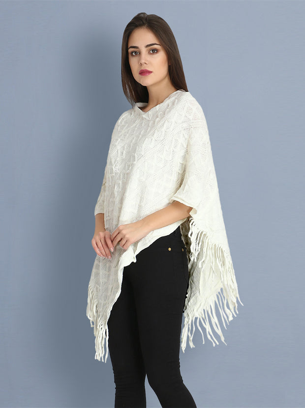 White Woollen Knit Poncho Top-2407
