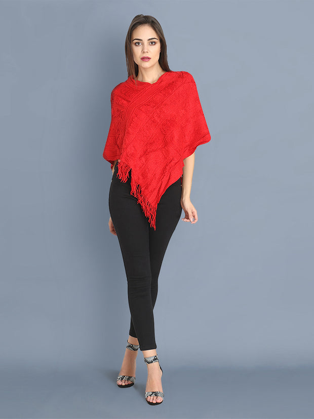 Red Woollen Knit Poncho Top-2408