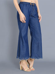Dark Blue Raw Edge Denim Palazzo Jeans-2352