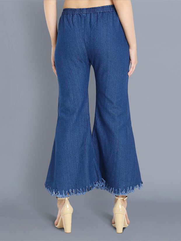 Dark Blue Printed Raw Edge Denim Palazzo Jeans-2354