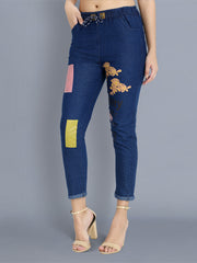 Dark Blue Color Block Skinny Fit Denim Jogger Jeans-2356