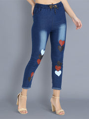Dark Blue Heart Print Skinny Fit Denim Jogger Jeans-2358