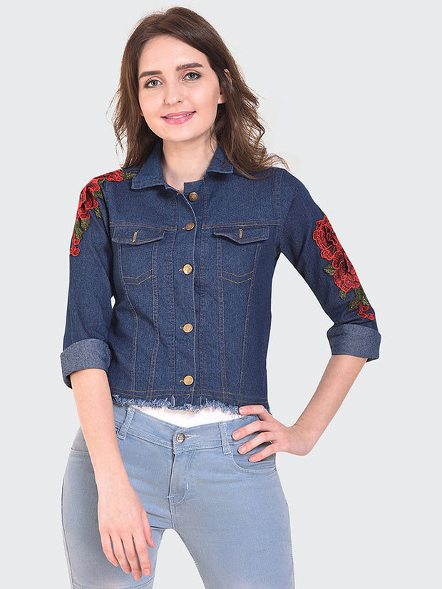 Dark Blue Floral Print Denim Jacket-2151