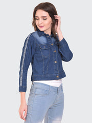 Dark Blue Striped Buttoned Denim Jacket-2152