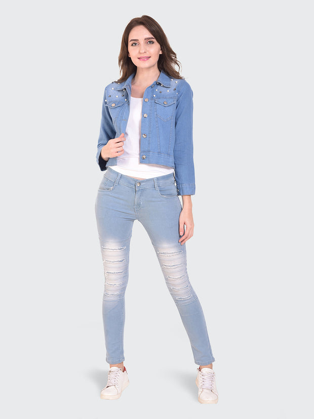 Light Blue Embellished Pearl Denim Jacket-2153