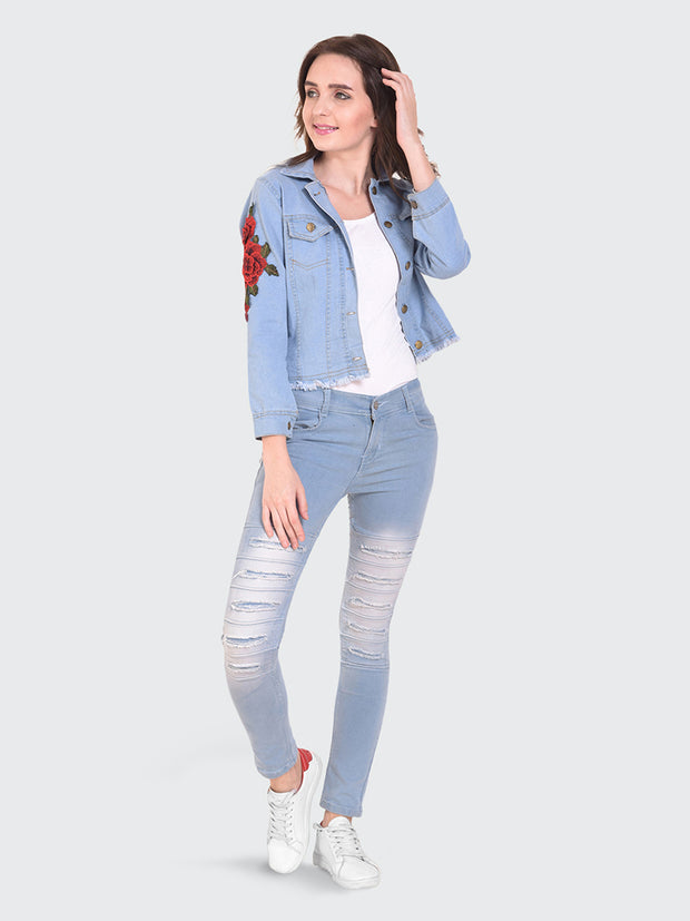 Light Blue Floral Print Denim Jacket-2154