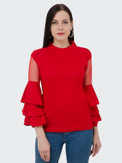 Red Crepe Frill Top-1987