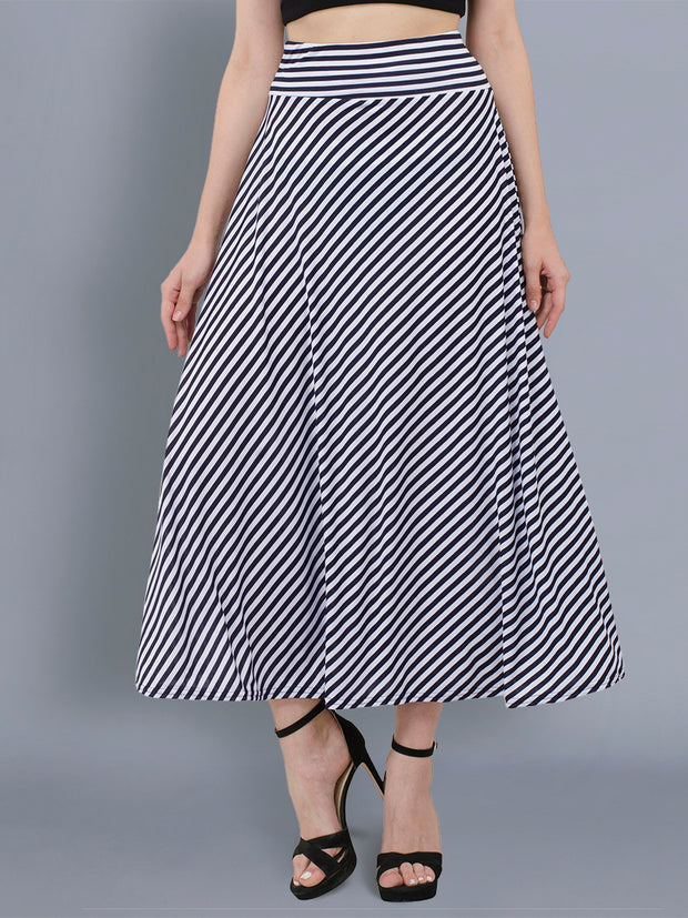 Blue N White Hosiery Lycra Striped Long Skirt-2040