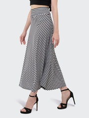 Black N White Hosiery Lycra Striped Long Skirt-1993