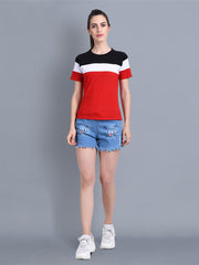 White Black Red Color Block Women T-Shirt-2310