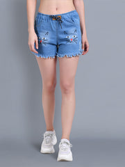 Denim Light Blue Printed Short-2320