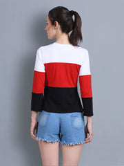 White Black Red Color Block Women T-Shirt-2309