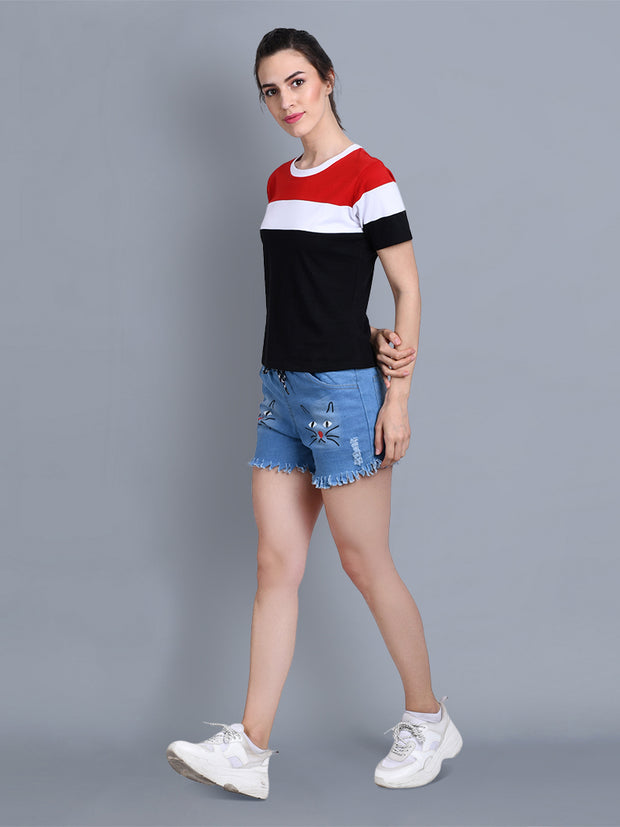 White Black Red Color Block Women T-Shirt-2311