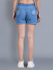 Denim Light Blue Printed Short-2321