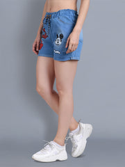Denim Light Blue Printed Short-2323