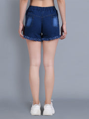 Denim Dark Blue Printed Short-2324