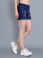 Denim Dark Blue Printed Short-2325