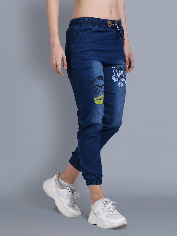 Dark Blue Printed Skinny Fit Denim Jogger Jeans-2329