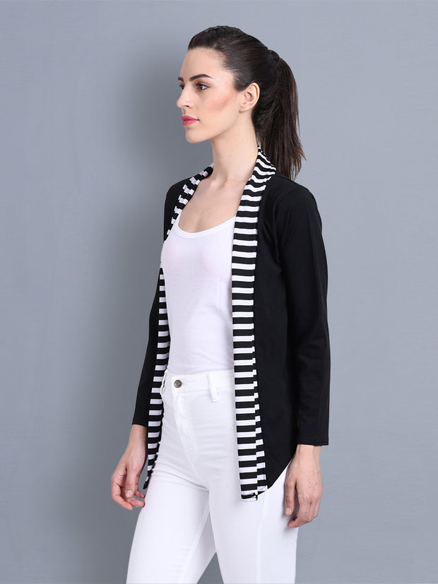 Black Cotton Striped Short Shrug-2339